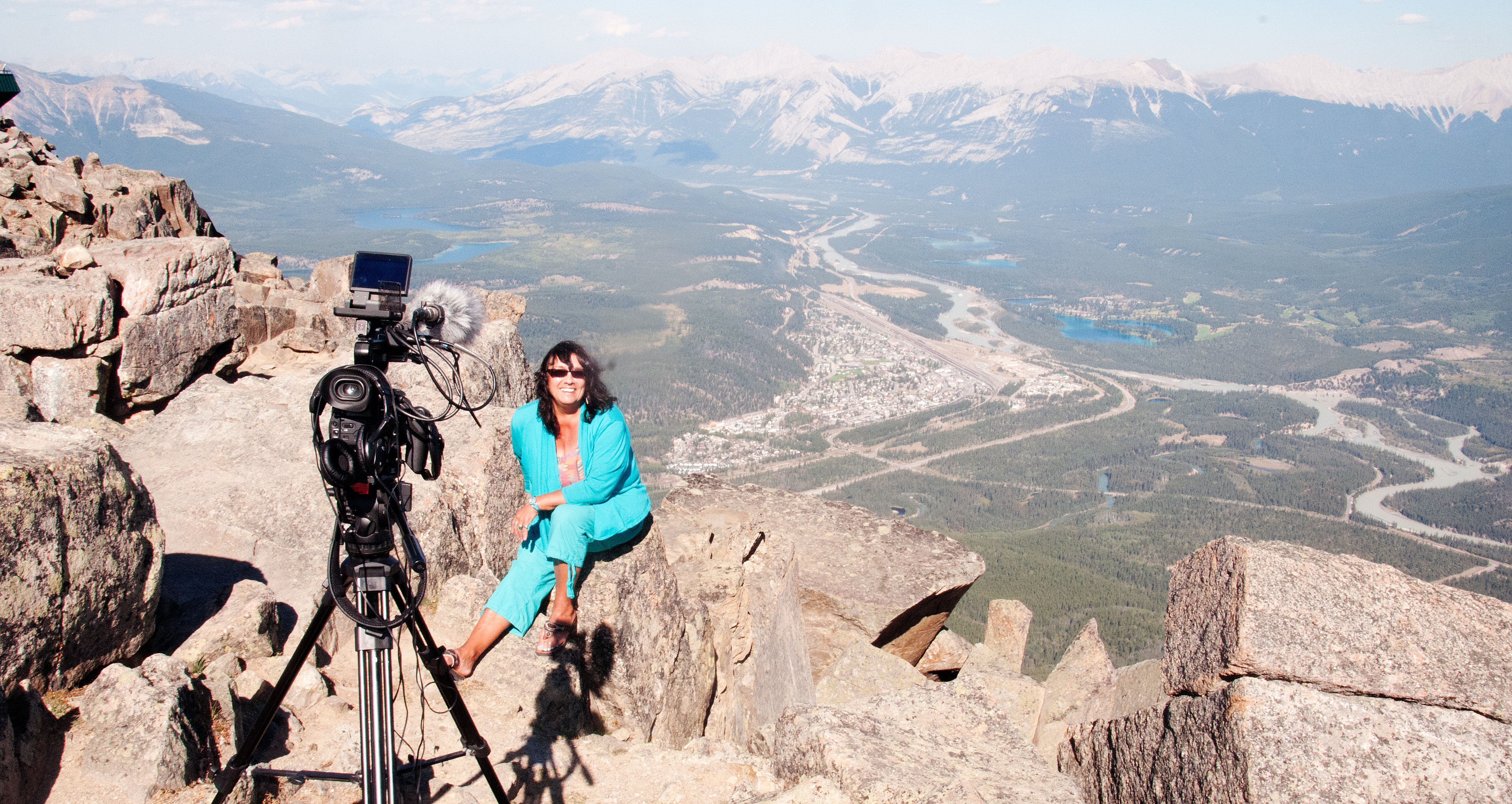 People & Peaks Productions of Women of Willmore Wilderness: Laura Vinson with the Athabasca Valley in the background